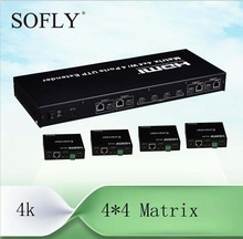 4X4 HDMI Matrix(Splitter&Switch) with 4 receivers extend to 100m, support HDBaseT(China (Mainland))