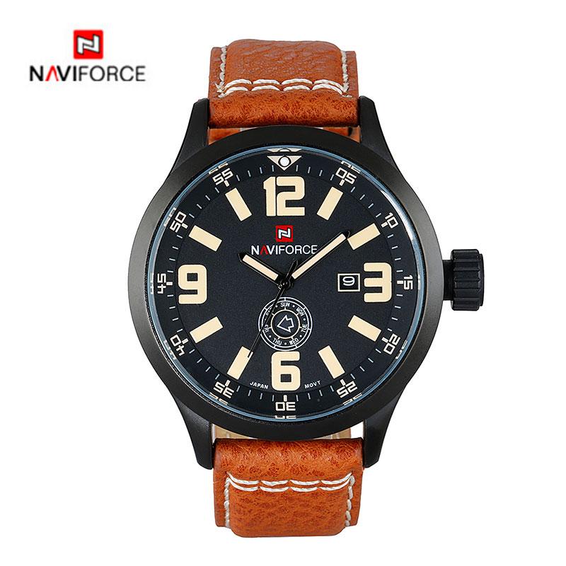 Luxury Brand NAVIFORCE Men Watches Leather Band Quartz Watch 30M Water Resistance Military Sport Watch relogio masculino