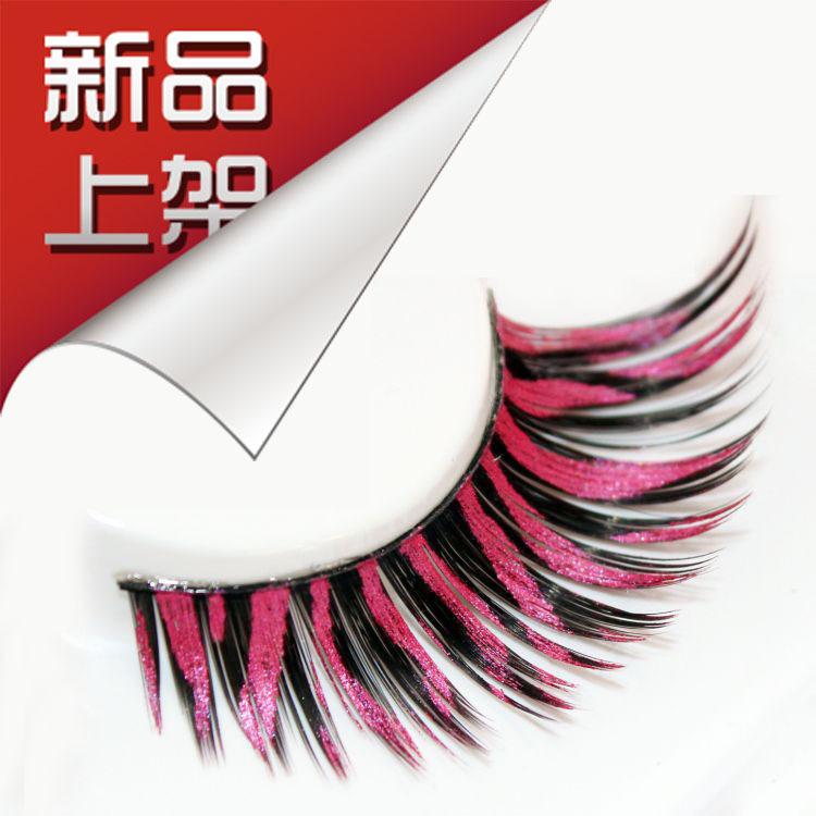 Fashion Black And Pink False Eyelashes Fake Eye Lashes Colorful Delicate Design Makeup 5pairs/lot Halloween RS03(China (Mainland))
