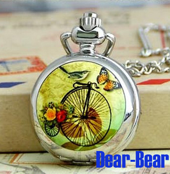 Wholesale Butterfly Bird BIke Outing watch Necklace Mirror Pocket watch , 12pcs/lot , Dia 2.9cm. Free shipping(China (Mainland))