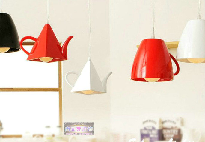 Fashion brief individuality teapot pendant lamp China style Tea cup Pendant lights bar/dining room lamp white/black/red choice(China (Mainland))