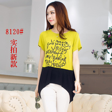 New 2015 Summer Fashion Irregular Elegant Long Tshirt For Women Ladies Casual Short Sleeve Letter Print Cotton Tee Top T Shirt(China (Mainland))