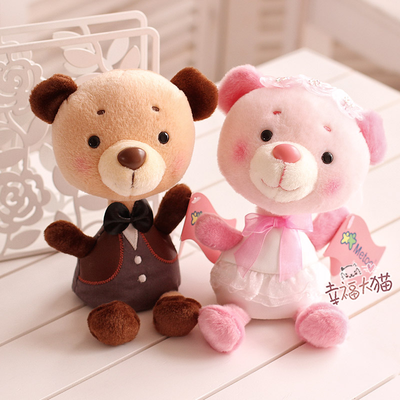 Metoo bear couple Wedding Teddy Bear with wedding dresses Plush Toy toy cars ecstasy car dolls car accessories free shipping(China (Mainland))