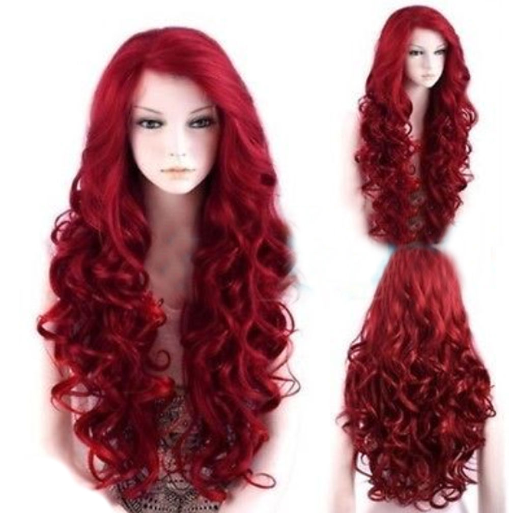 26 Quot Spiral Curly Wavy Hair Wig Cosplay Party Wigs Dark Red
