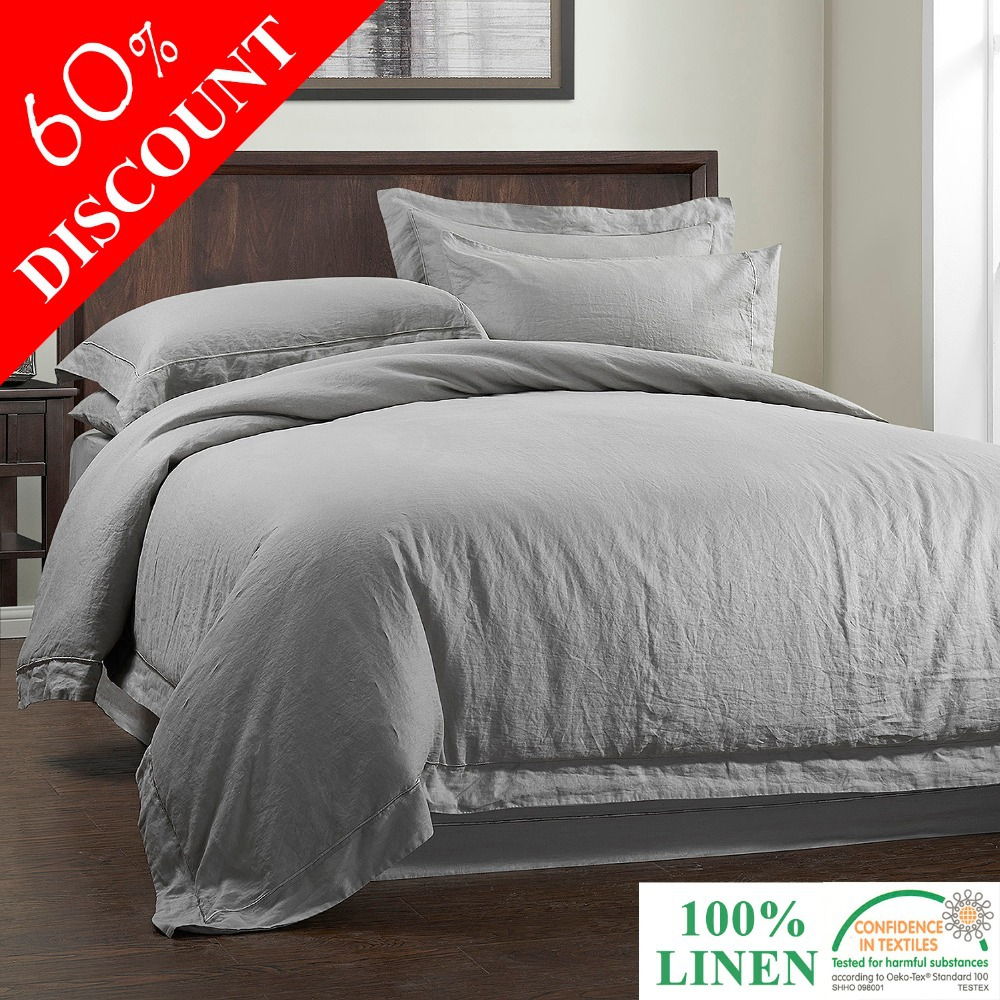 100%LINEN STONE WASH Duvet cover SET with Embroidery linen(China (Mainland))