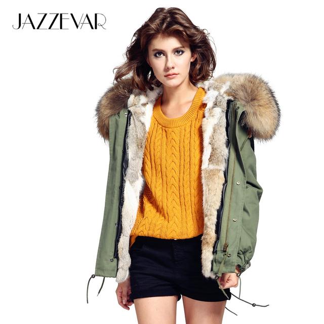JAZZEVAR Мода женщина army green Большой енота меховым воротником с капюшоном пальто парки и пиджаки съемный кролик меховой подкладке зимняя куртка