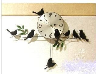 Free ship Strong packing Mute Quartz Little Bird Wall Clock Home Decorative Craft three color black white red ZF017