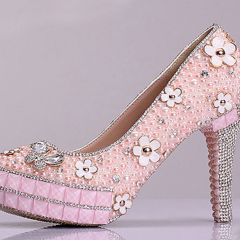 2015 New Design Bridal Shoes Pink Pearl Rhinestone Wedding Shoes Graduation Sweetness Prom Shoes Cheap Bridesmaid Shoes(China (Mainland))