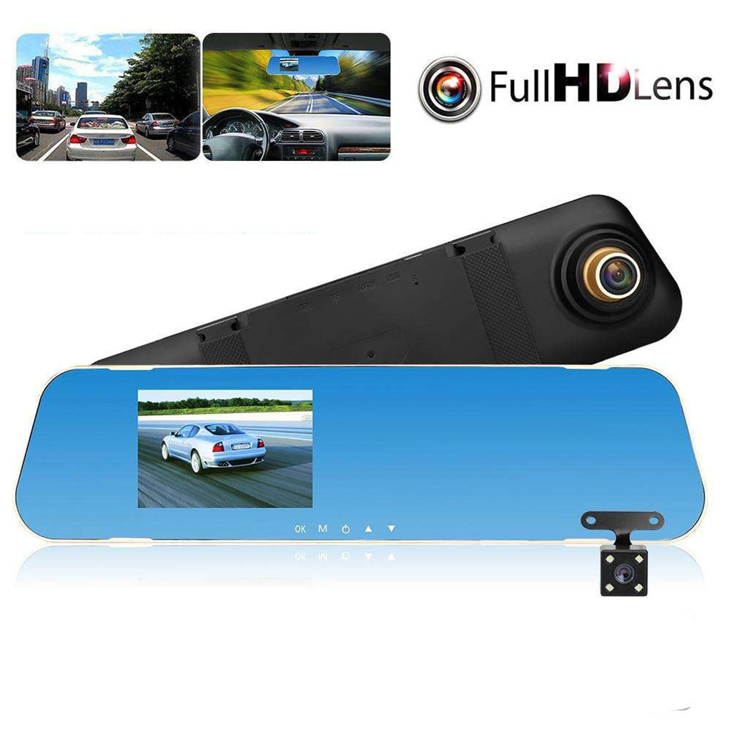 4.3 Inch IPS Car Dvr Camera Rearview Mirror Digital Video Recorder Parking Monitoring 90-140 Degree FHD 1080P/720P Dual Len