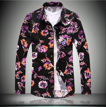 Colors 2015 new flower pattern mens shirts long sleeve floral shirt Autumn winter thickening casual shirts Plus size 5XL 6XL 7XL(China (Mainland))