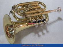 AAA Quality Gold Lacquer Pocket Trumpet Bb horn Large bell  With Case(China (Mainland))