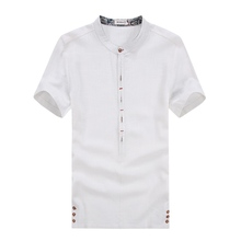 Men's short sleeve summer high quality linen shirt contracted joker comfortable breathable linen material men's large size shirt(China (Mainland))