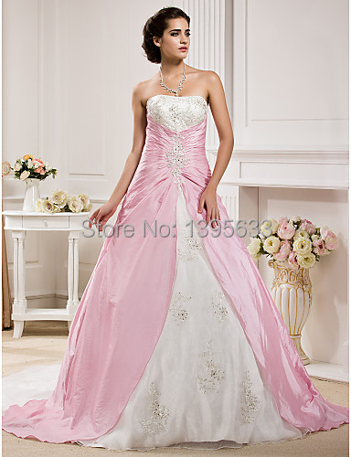 Pics for pink and white wedding dresses for White with pink wedding dresses