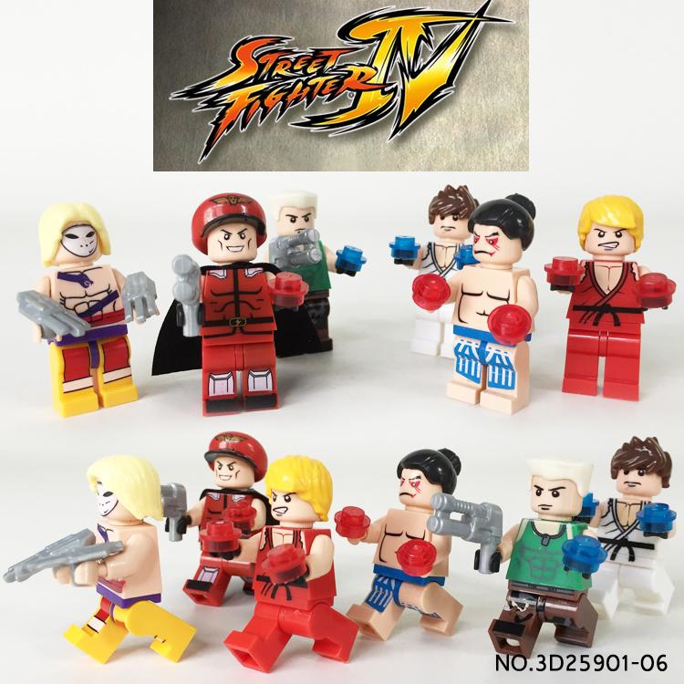 6pcs Street Fighter RYU/KEN/GUILE VEGA Dhalsim Assemble Building Doll 3D Model Minifigures Bricks Blocks Kids ToyS Gifts(China (Mainland))