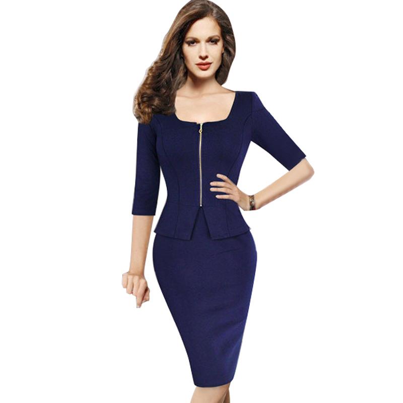 Dark Blue Pencil Dress Sheath Bodycon Slim Office Business Dress Party Evening Elegant Plus Size ...