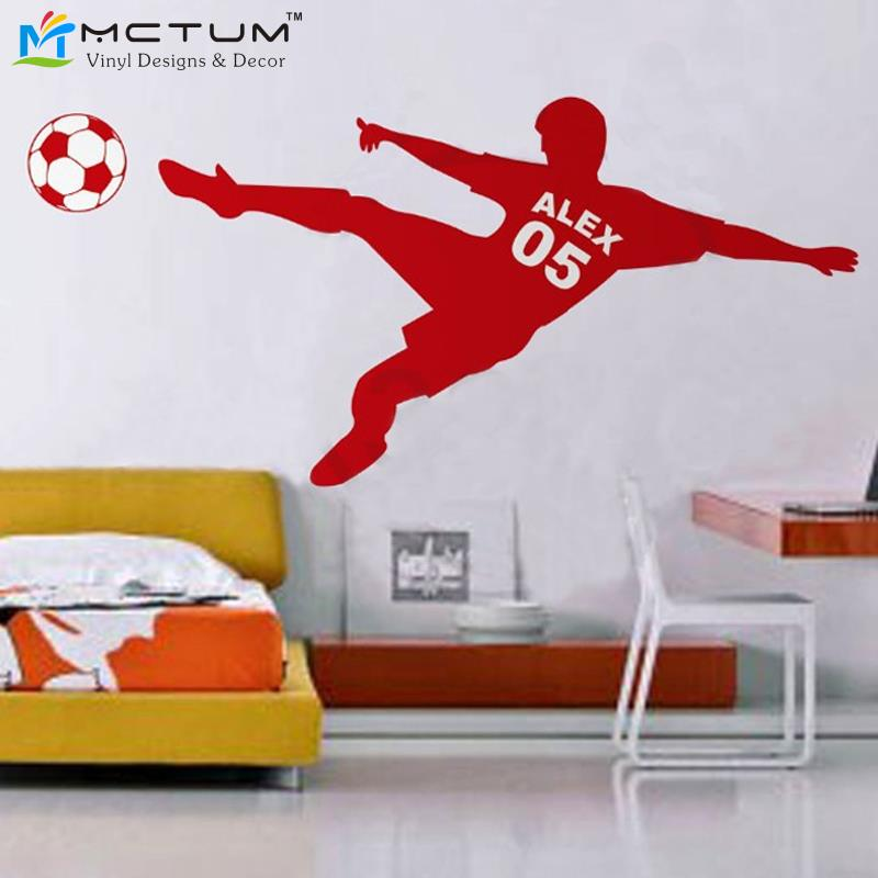 Football Soccer Ball Personalized Name & Number Vinyl Wall Wall Decal Poster Wall Art Children Wall Sticker Kids Room Decor(China (Mainland))