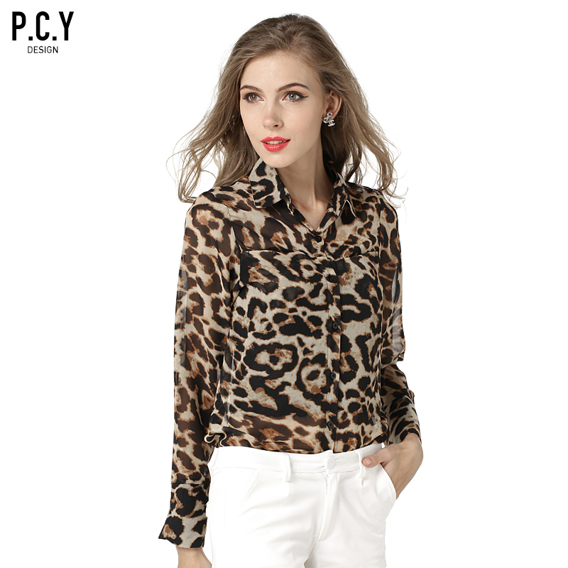 P.C.Y spring and autumn women new loose leopard print chiffon long-sleeved shirt type blouse(China (Mainland))
