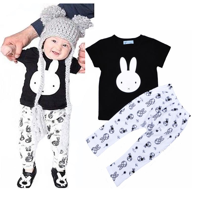 Bobo choses baby girls clothes set summer bunny T-Shirt tops tees+rabbit pants fashion kids girls clothing set vetement enfant(China (Mainland))