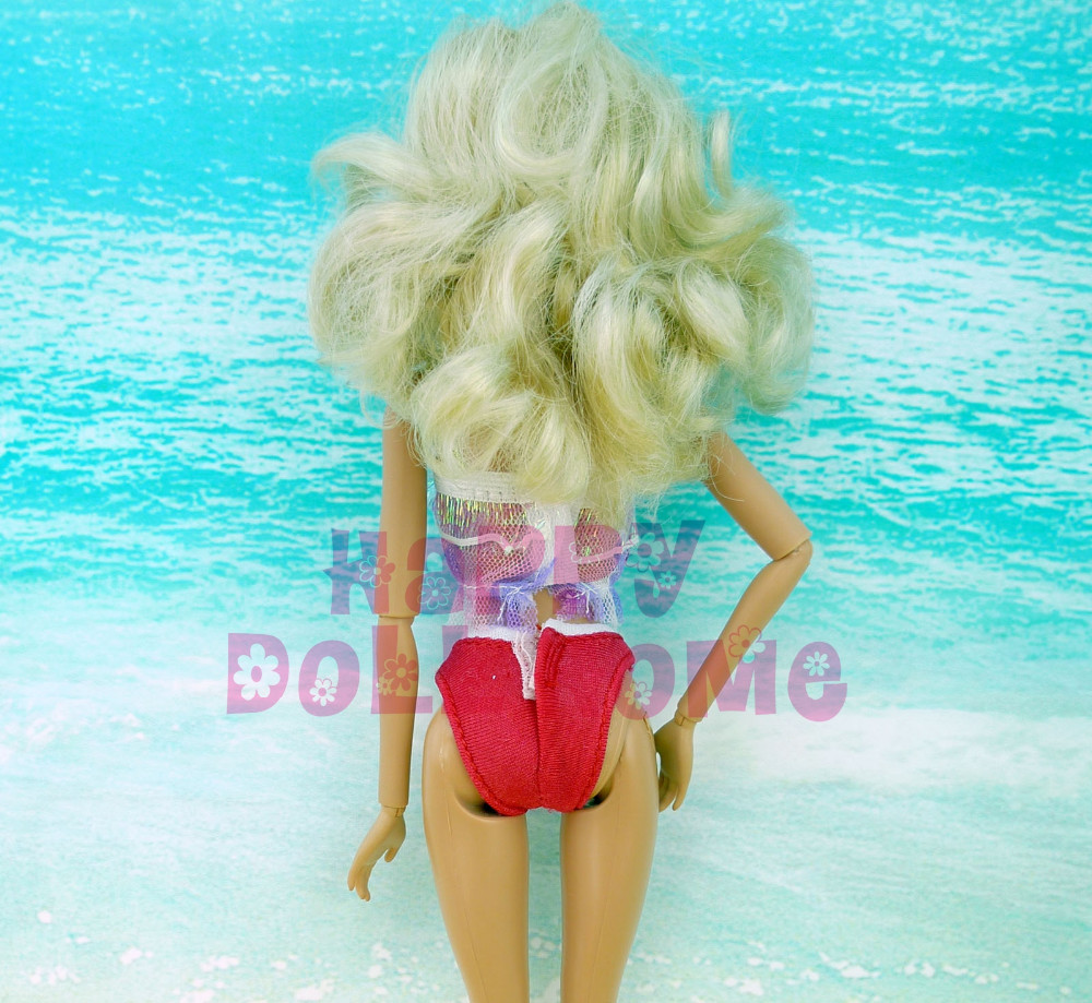Summer time Bikini Sea Seashore Swimsuit Bathing Pool Clothes With Crimson Bowknot Garments Slippers For Barbie Doll Play Home Toys Present