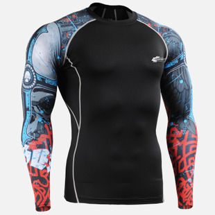 Bodybuilding Running Cycling Tops Shirts Men Unique Print Compression Skin Tights Workout GYM Fitness Top Tees - hou's store