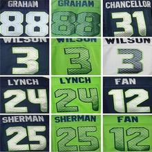 Men's 24 Marshawn Lynch shirts jersey #3 Russell Wilsons 25 Richard Sherman Doug Baldwin Kam Chancellor Elite jersey(China (Mainland))