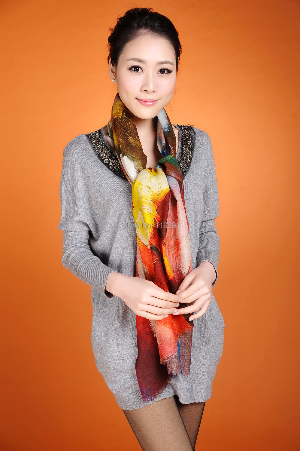 Brand Salomon Hot sale Fashion 100% Cashmere Scarf Pashmina, Beautiful Red Yellow Brown Ombre Wool Shawls And Scarves w3915(China (Mainland))