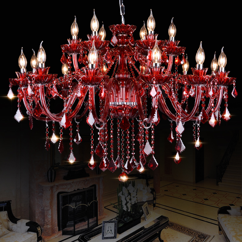 Modern red Crystal Chandelier for living dining room bedroom restaurant lamp chandeliers lighting fixtures suspension luminaire(China (Mainland))