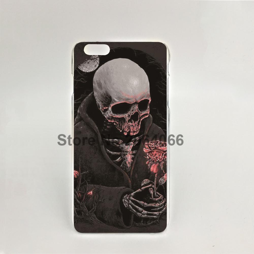 07718 rose skull skeleton red Hard transparent Cover Skin Back Case for iPhone 4 4S 5 5S 5C 6 6S Plus 6SPlus(China (Mainland))