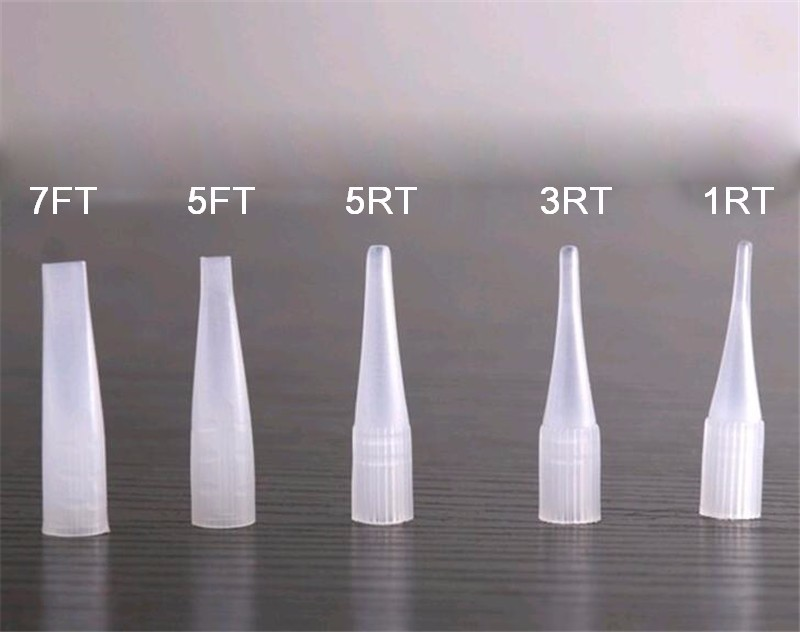 500Pcs mix size (1/3/5R 5/7F) Wholesale Tattoo Permanent Makeup Eyebrow Lips Disposable Plastic Tips Nozzles For Needles Supply