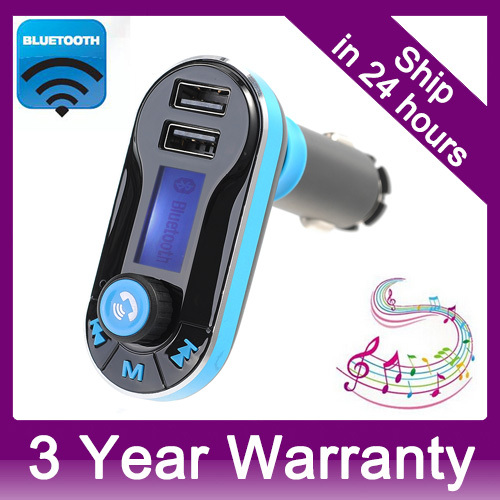 Smartphone Bluetooth MP3 Player Handsfree Car Kit + Dual USB Charger + FM Transmitter + Handsfree with Micro SD/TF Card Reader(China (Mainland))