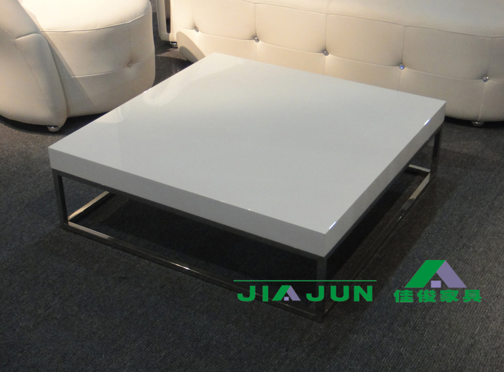 Stylish white piano lacquer square coffee table minimalist stainless steel coffee table / living room coffee table / export coff(China (Mainland))