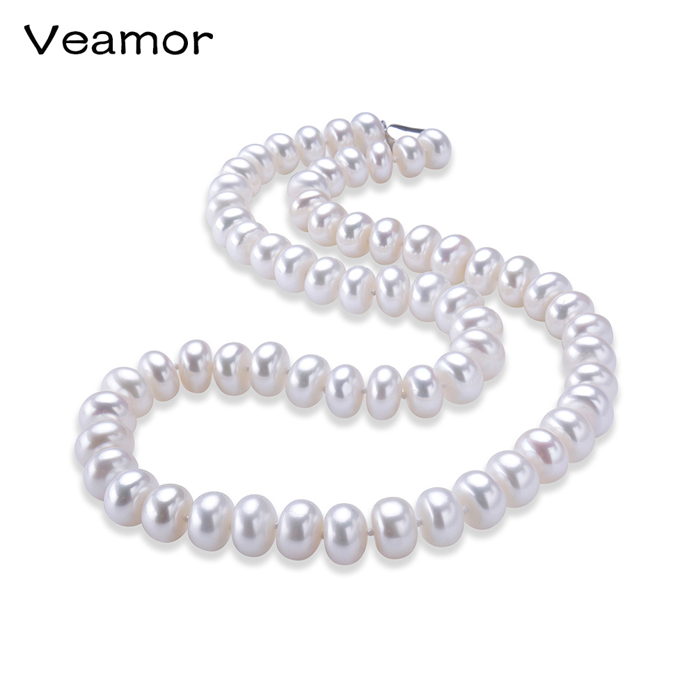 Veamor Genuine Freshwater Pearl Necklace, Trendy Necklace For Everyday, New Brand Fashion Jewelry 8-9 mm, Choker Necklace(China (Mainland))