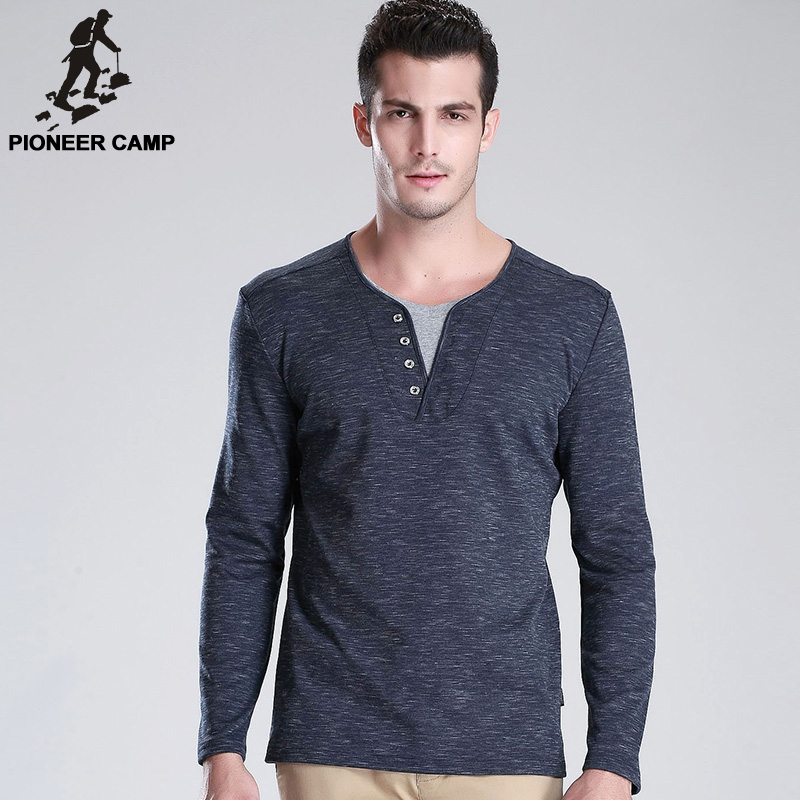 Pioneer Camp 2016 Spring New Men T Shirt Long Sleeve V