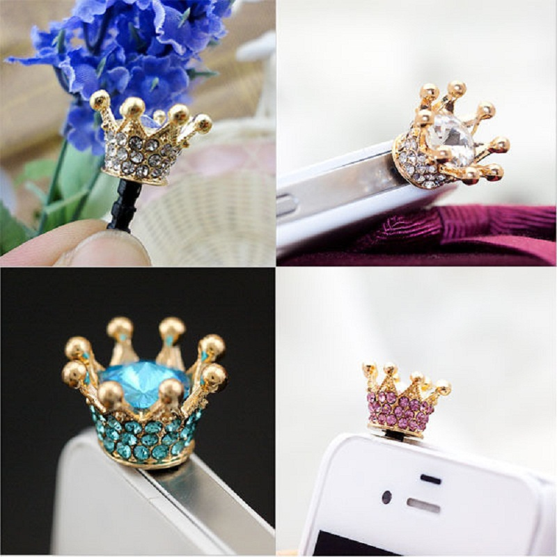 Wholesale For 3.5mm Headphone Port Dust Plug Elegant Crown Shape Anti Dust Earphone Plug Cell Phone Accessories 100Pcs/Lot(China (Mainland))