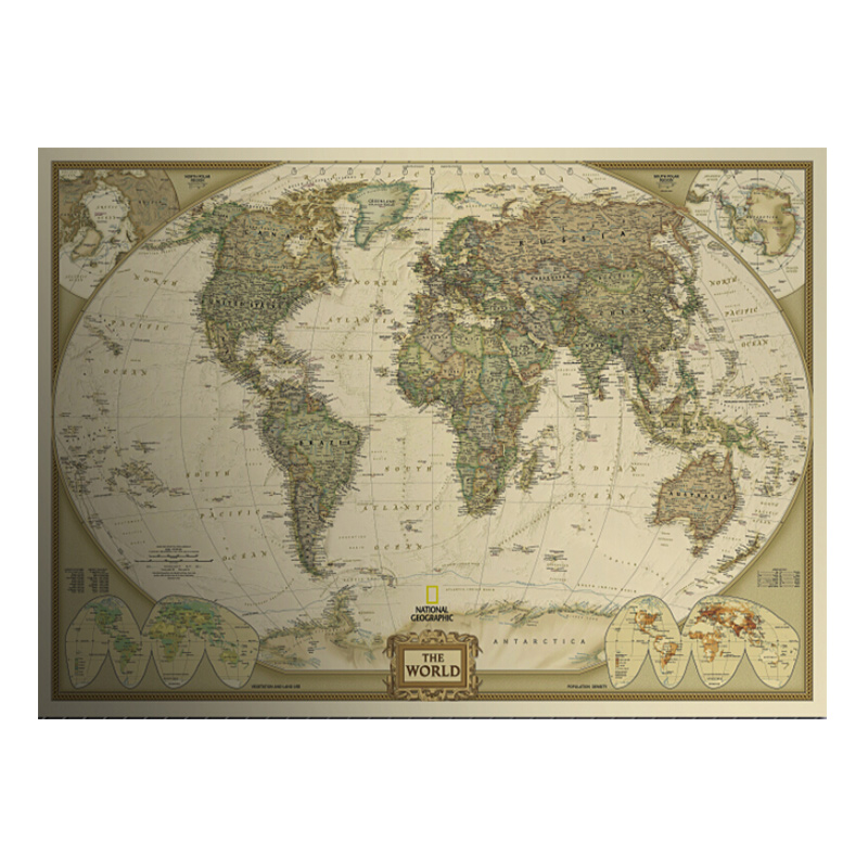 Vintage World Map Home Decoration Very Detailed Antique Poster Wall Chart Retro Paper Matte kraft paper 28*18inch Map Of World