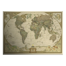 Grande vintage world map home decoration dettagliata antico poster muro grafico retro carta opaca carta kraft 28*18 pollice mappa del mondo(China (Mainland))