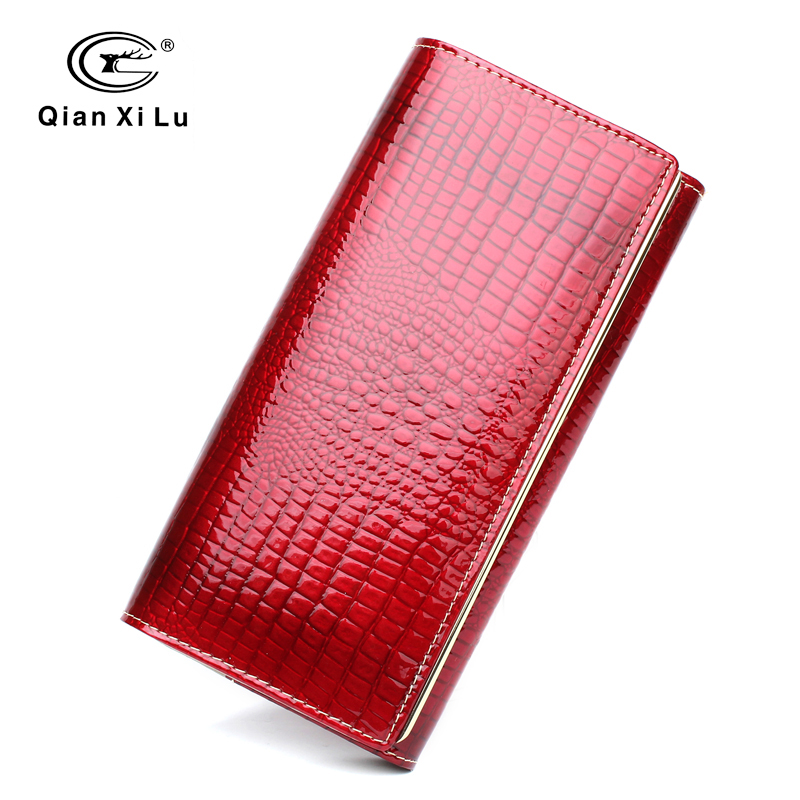 Qianxilu Brand Fashion Alligator Womens Wallets and Purses Patent Genuine Leather,Ladies Leather wallets(China (Mainland))