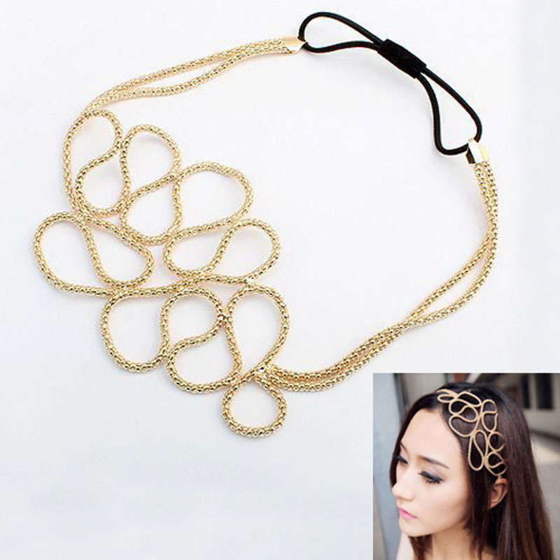 Fashion Metallic Hollow Corn Chain Hairband Hair Accessories For Women Hot Sale(China (Mainland))