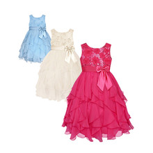 2016 Kids Girls Party Dress Wedding Ceremonies Birthday Flower Girls Sequin Dresses Vestidos Summer Dress For Girls