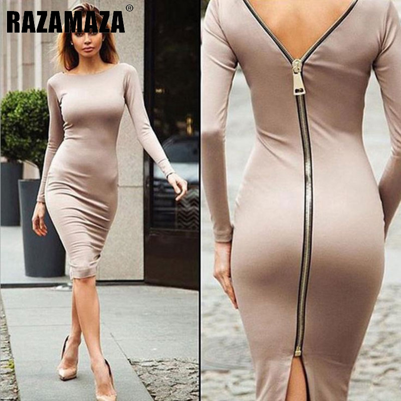 Bodycon Sheath Dress Long Sleeve Sexy Party Dresses in Women's Clothing Back Zipper Pencil Dress tight dresses sexy robe(China (Mainland))