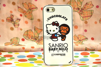 1pcs, Hello Kitty and Monkey With Retail packing, PC+TPU Skin Cover Case for iphone 5/5S, Best for iphone 5 Case, New Look