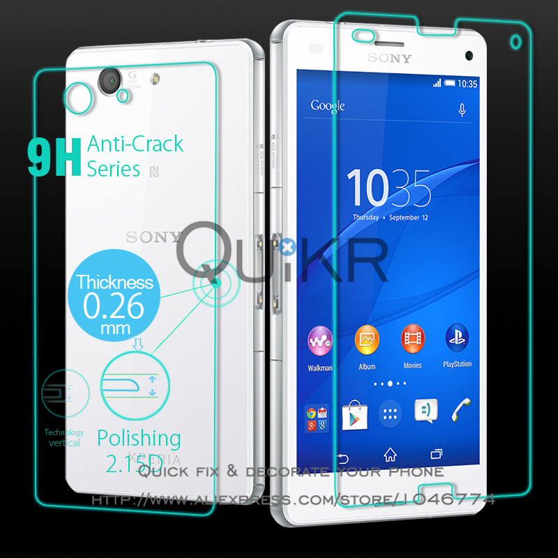 Real Tempered Glass for Sony Xperia Z3 Compact Screen Protector Front Back Full Phone Explosion-Proof Film 4.6 inch(China (Mainland))