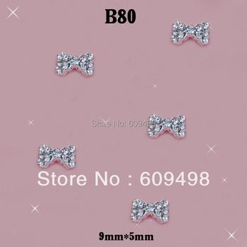 B80 50pcs/lot 3D Alloy Clear Crystal Rhinestone 5X9MM Bow Bowknot TIe Acrylic Salon Nail Art Tips Decoration