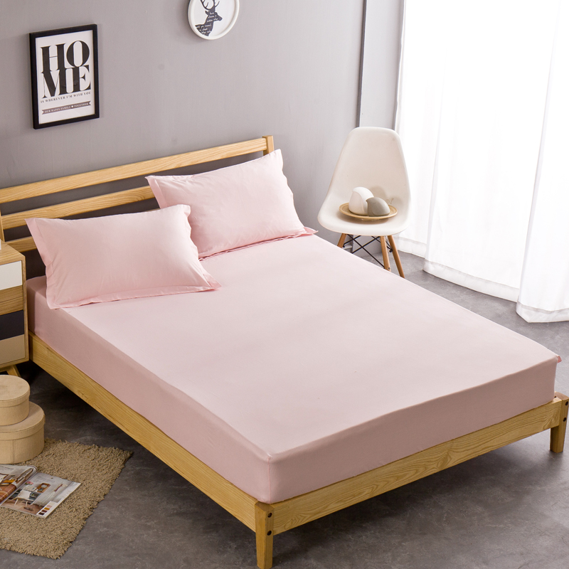 Pink100 cotton fitted sheet bed cover pillowcase twin for Queen size bedroom sets with mattress