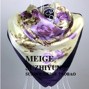 Free Shipping 2015 New Arrival Women Purple Flower Print oil painting square silk scarf women royal rose shawls(China (Mainland))
