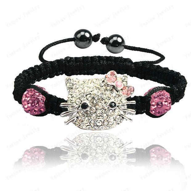 2015 Fashion Jewelry Hello Kitty Crystal Bracelets Micro Pave CZ Disco Ball Beads Crystal Jewelry Bracelets Free Shipping(China (Mainland))