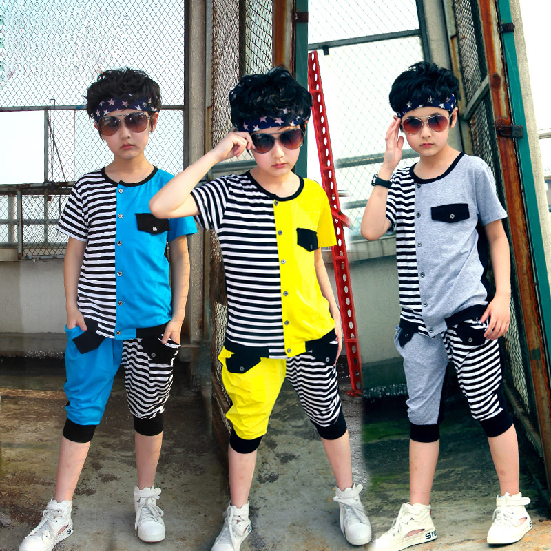 The new 2015children clothing bos The big boys short sleeve stripe leisure suit The boy summer thin  2 times 8-13T<br><br>Aliexpress