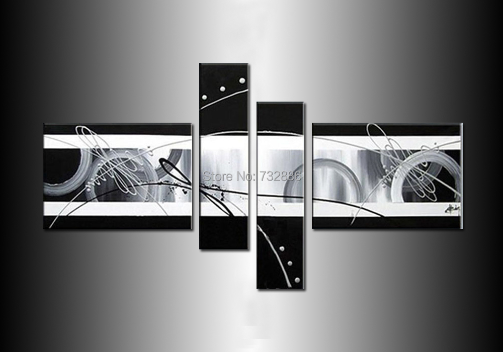 High Quality 4 Piece Sets Modern Abstract White Grey Black