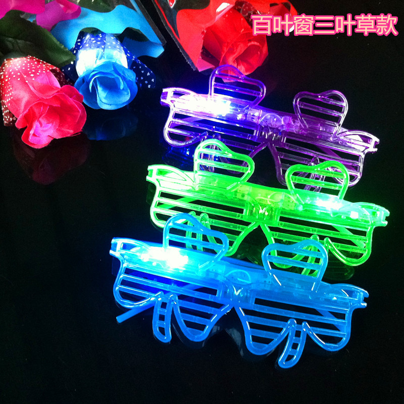 48pcs/lot Led luminous glasses toys louver window leaves eyes glass toys flashing masquerade kids party supplies <br><br>Aliexpress