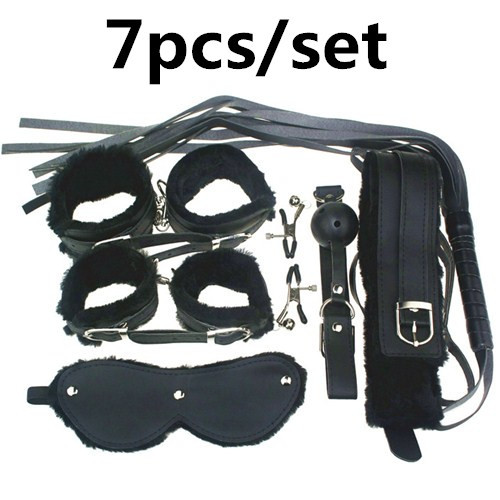 Handcuffs Adult Games Sex Tools 7 Pieces kit Leather Bedroom Restrain Footcuff Queen Consume Fun Adult whip Set sex products(China (Mainland))